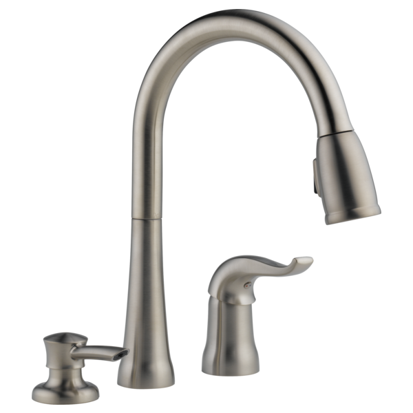 Single Handle Pull Down Kitchen Faucet With Soap Dispenser 16970