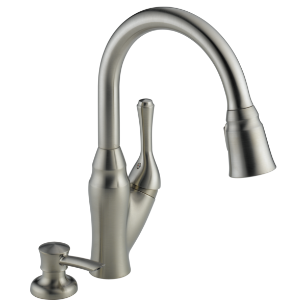 Single Handle Pull-Down Kitchen Faucet with Soap Dispenser 16971 ...