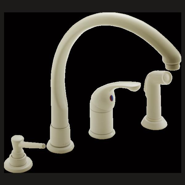 White Kitchen Faucets: Single Handle Kitchen Faucet 174-BSWF
