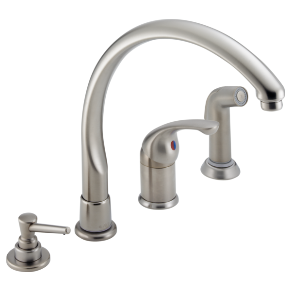 White Kitchen Faucet With Soap Dispenser