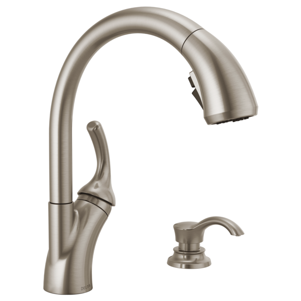 Single Handle Pull-Out Kitchen Faucet with Soap Dispenser and ShieldSpray<sup>&reg;</sup> Technology