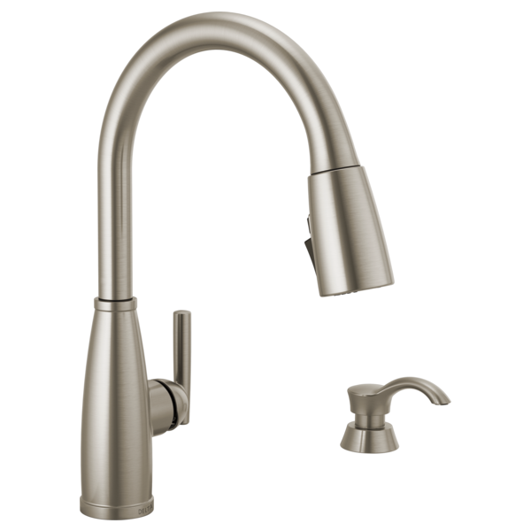 Single Handle Pull Down Kitchen Faucet With Soap Dispenser And Shieldspray Technology 19792z Spsd Dst Delta Faucet