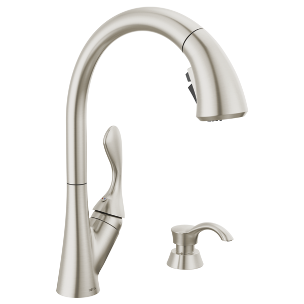 Single Handle Pull Down Kitchen Faucet With Soap Dispenser 19922 Sssd Dst Delta Faucet