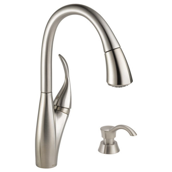 Delta Pull Down Kitchen Faucet 19932-sssd-dst - single handle pull-down kitchen faucet with soap