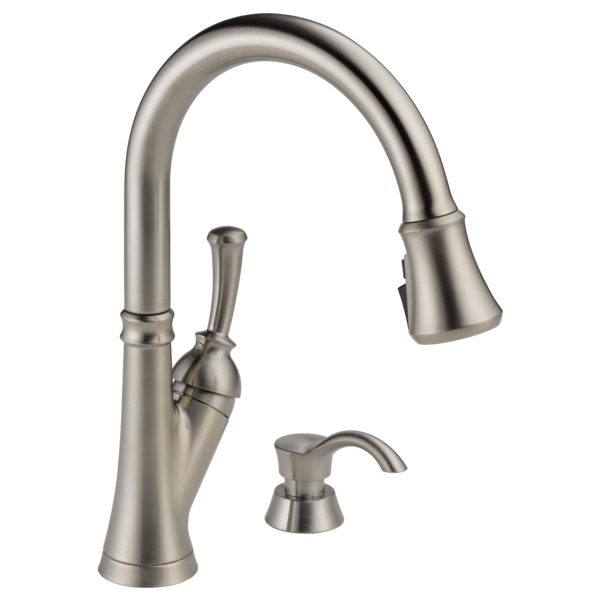 Single Handle Pull-Down Kitchen Faucet with Soap Dispenser ...