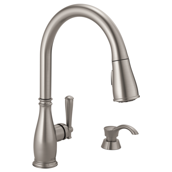 Delta Pull Down Kitchen Faucet 19962-sssd-dst - single handle pull-down kitchen faucet with soap