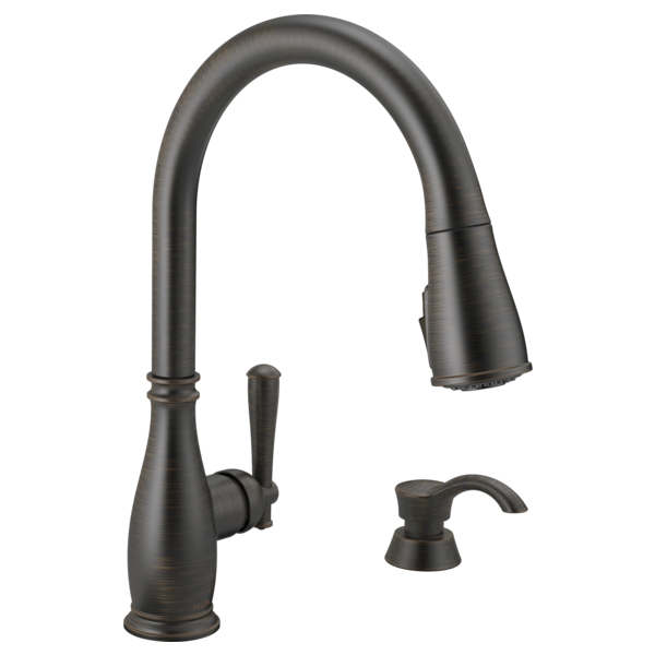 Single Handle Pull-Down Kitchen Faucet with Soap Dispenser and ShieldSpray