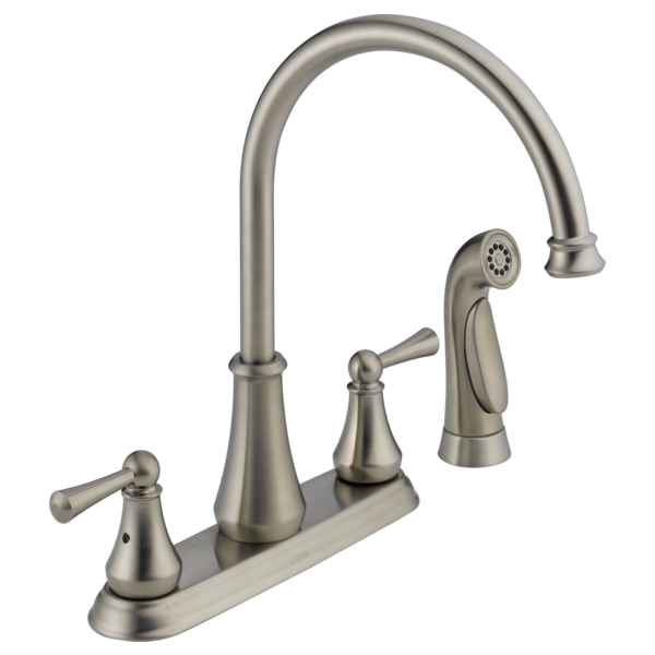 Attirant Two Handle Kitchen Faucet With Spray