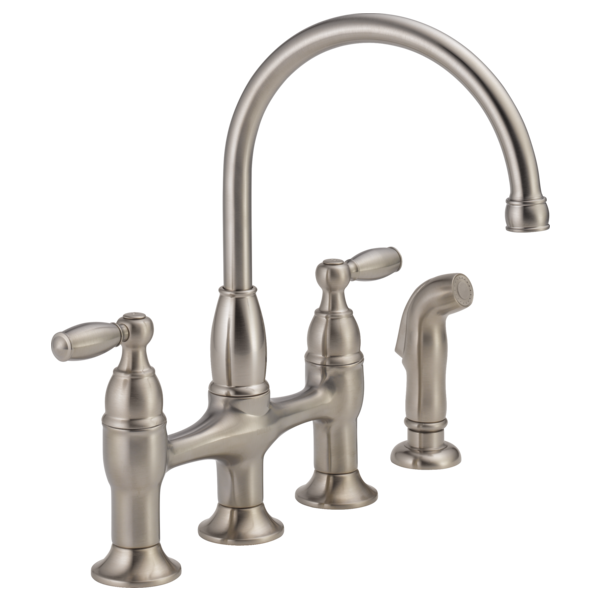 delta two handle kitchen faucet two handle bridge kitchen faucet with spray 21966lf ss 23519