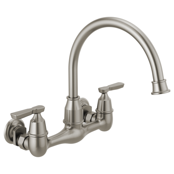 wall mounted faucets kitchen two handle wall mounted kitchen faucet 22722lf ss delta 22625