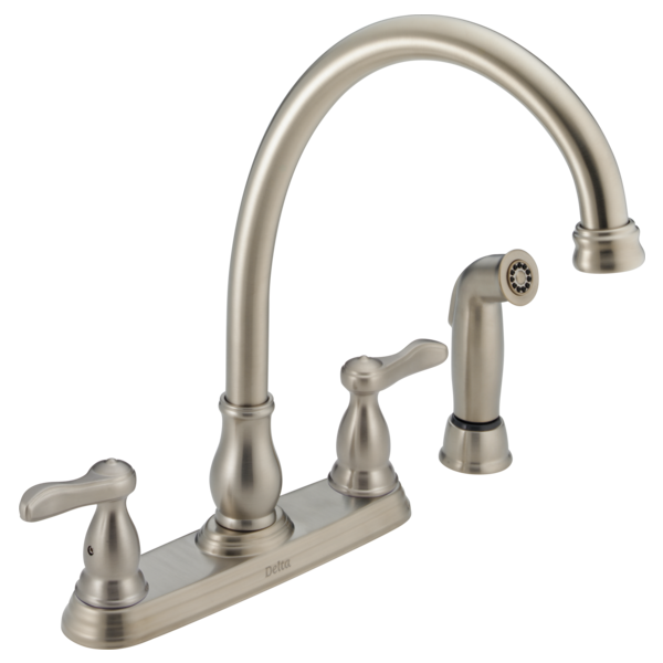 Discontinued Delta Kitchen Faucets: Two Handle Kitchen Faucet With Spray 2457-SS