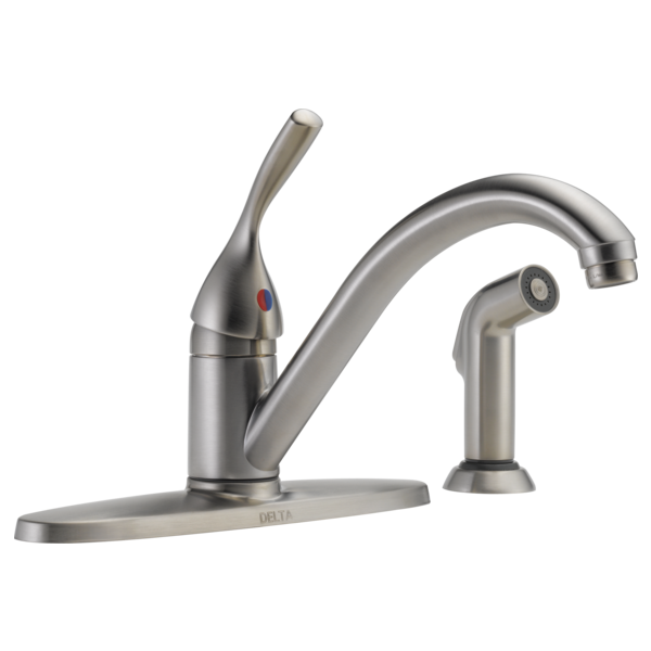Single Handle Kitchen Faucet With Spray 400 Ss Dst L Delta Faucet