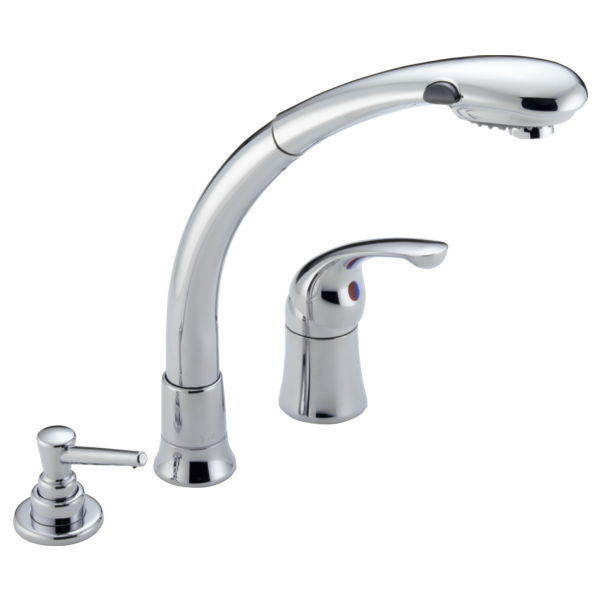 Single Handle Pull Out Kitchen Faucet With Soap Dispenser 474