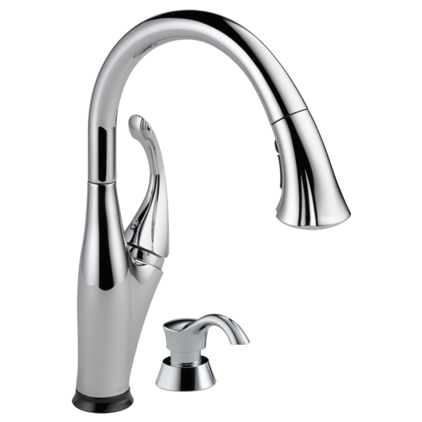 Single Handle Pull-Down Kitchen Faucet with Touch<sub>2</sub>O<sup>&reg;</sup> Technology and Soap Dispenser