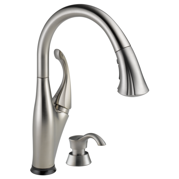 single handle pulldown kitchen faucet with touch2o technology and soap dispenser