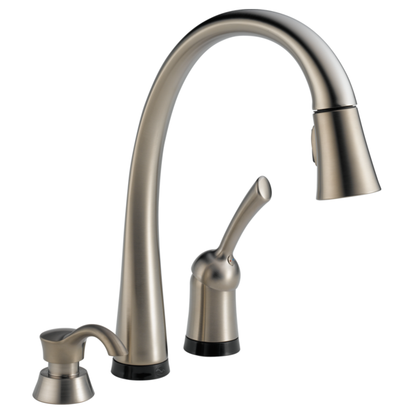 pull inspirations faucet pertaining delta activated kitchen pilar down to touch with