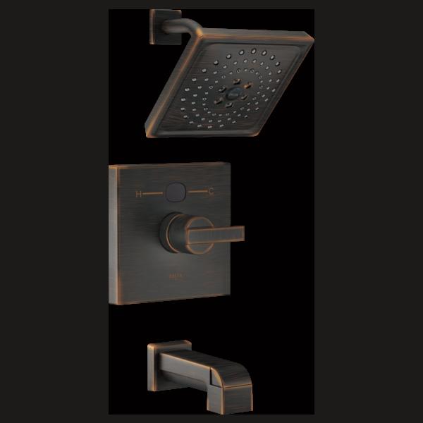 t14401 rbt2o angular modern 14 series temp2o tub and shower trim. Black Bedroom Furniture Sets. Home Design Ideas