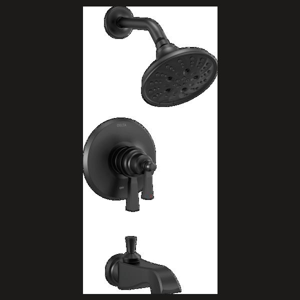DELTA® T17456-BL Monitor® 17 Tub/Shower Trim, 6.2 gpm Valve, 1.75 gpm Shower, Matte Black