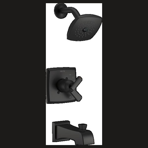 DELTA® T17464-BL Monitor® 17 Tub and Shower Trim, 6.2 gpm Valve, 1.75 gpm Shower, Matte Black