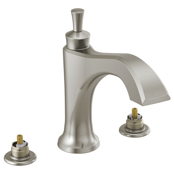 DELTA® T2756-SSLHP Dorval™ Roman Tub With Diverter, Commercial/Residential, 18 gpm Flow Rate, 8 to 16 in Center, Brilliance® Stainless Steel, Function: Traditional