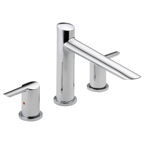 DELTA® T2761 Roman Tub Trim, Compel®, 2 gpm Flow Rate, 8 to 16 in Center, Polished Chrome, 2 Handles, Function: Traditional, Domestic