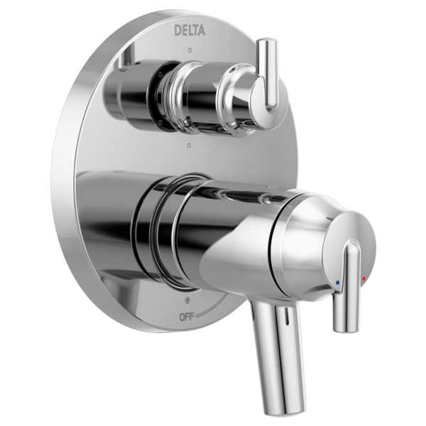 Contemporary Two Handle TempAssure<sup>&reg;</sup> 17T Series Valve Trim with 6-Setting Integrated Diverter