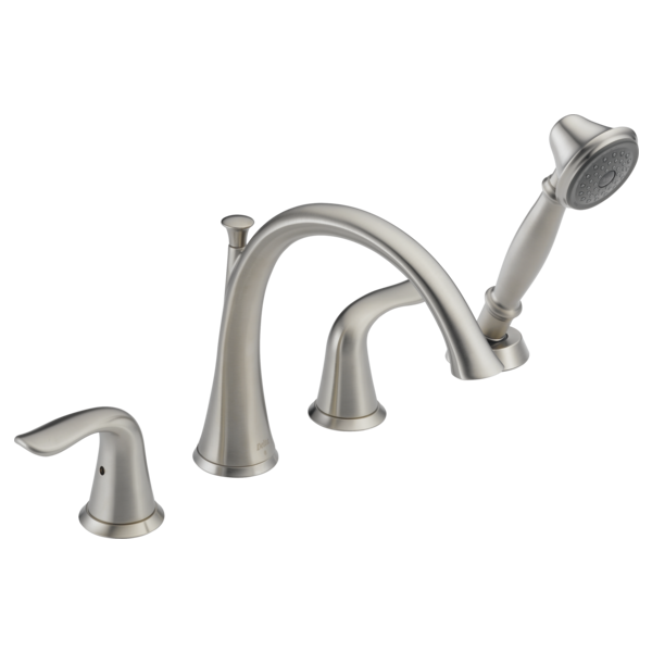 DELTA T4738-SS LAHARA STAINLESS ROMAN TUB TRIM 4-HOLE INCLUDES HAND SHOWER & TWO HANDLES MC267884