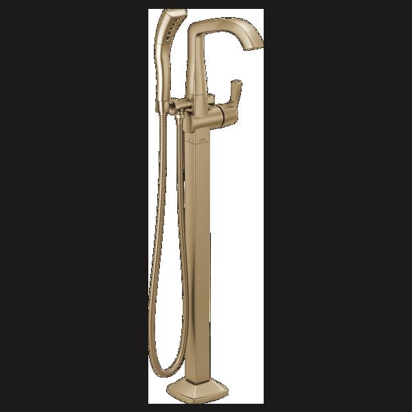 DELTA® T4776-CZFL Stryke™ Freestanding Floor Mount Tub Filler Trim, 10 gpm Flow Rate, Brilliance® Champagne Bronze, 1 Handles, Domestic