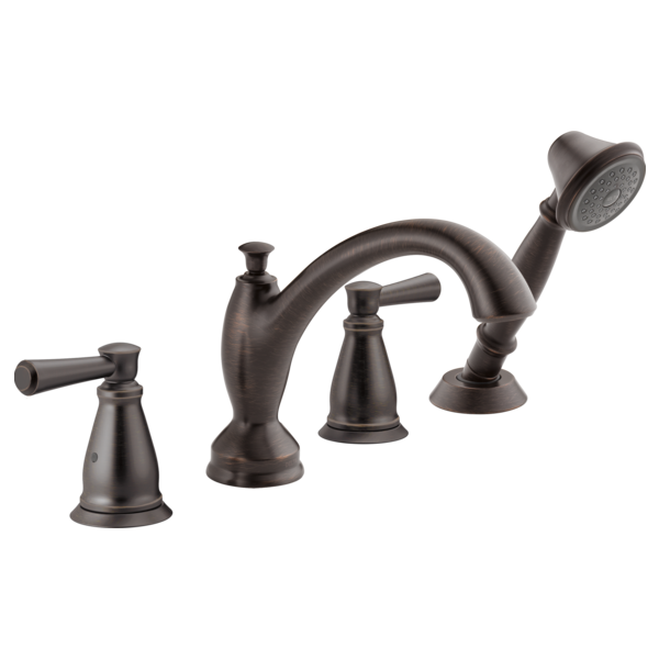 DELTA® T4793-RB Roman Tub Trim, Linden™, 2 gpm Flow Rate, 8 to 16 in Center, Venetian Bronze, 2 Handles, Function: Traditional, Import