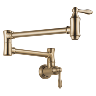 Delta 1177LF-CZ Cassidy: Traditional Wall Mount Pot Filler, Champagne Bronze