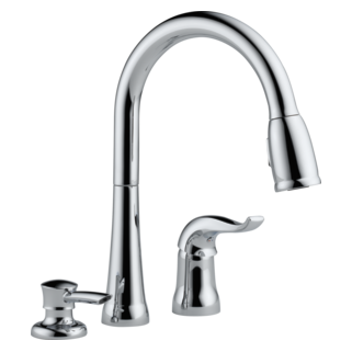Delta: Single Handle Pull-Down Kitchen Faucet With Soap Dispenser - 16970-SD-DST