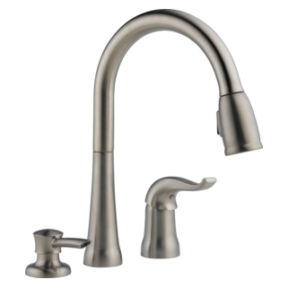 16970-SSSD-DST Single Handle Pull-Down Kitchen Faucet with Soap Dispenser (Valve and Shower Head Sold Separately)