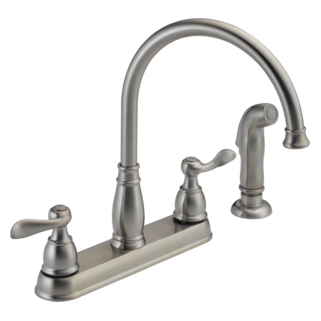 Delta Foundations Windemere: Two Handle Kitchen Faucet With Spray - 21996LF-SS