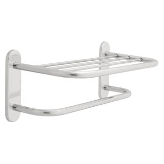 "43018 18"" Brass Towel Shelf with One Bar, Concealed Mounting"