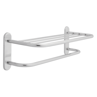 "43024 24"" Brass Towel Shelf with One Bar, Concealed Mounting"