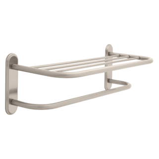 "43224-SN 24"" Brass Towel Shelf with Brass Step Style Beveled Flanges and One Bar, Concealed Mounting"