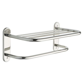 "43618-ST 18"" Stainless Steel Towel Shelf with One Bar, Exposed Mounting"