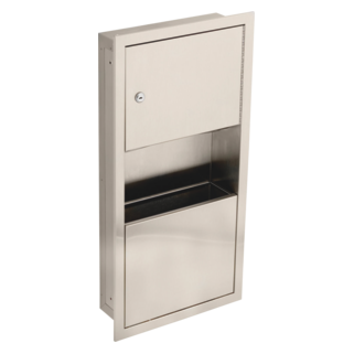 45568-SS Small Stainless Steel Recessed Towel Dispenser and Waste Receptacle (Valve and Shower Head Sold Separately)