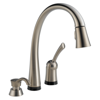 Pilar Single Handle Pull Down Kitchen Faucet With Touch2o Technology And Soap Dispenser
